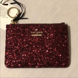 Authentic Kate Spade sparkly keychain wallet NWT!!